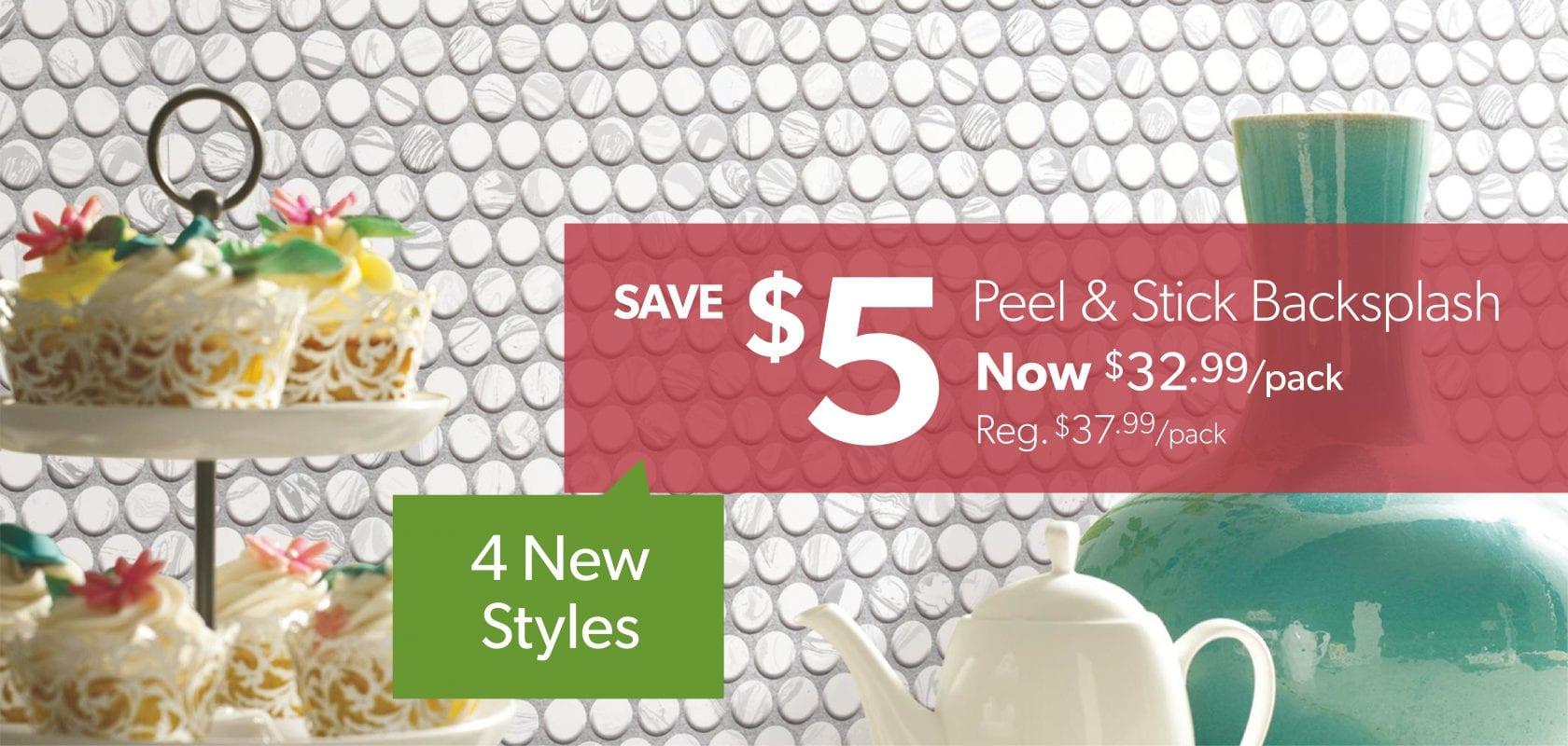 $5 off Peel & Stick Backsplash Tiles