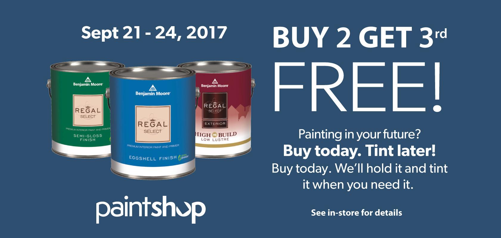 buy 2 get 3rd free Regal Paint Sale