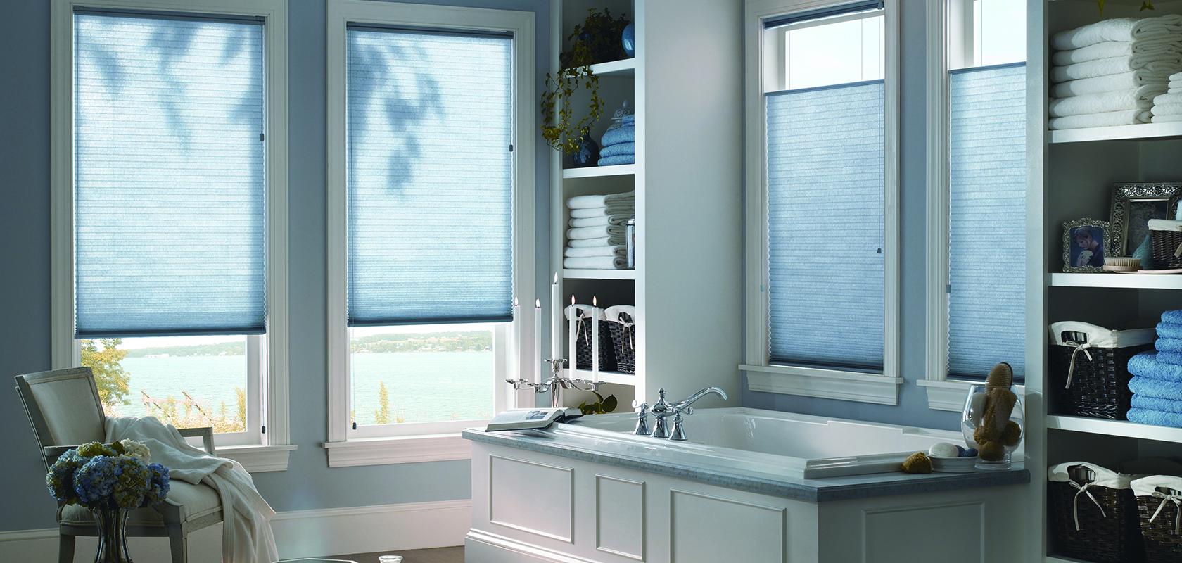 room scene with blue cellular blinds