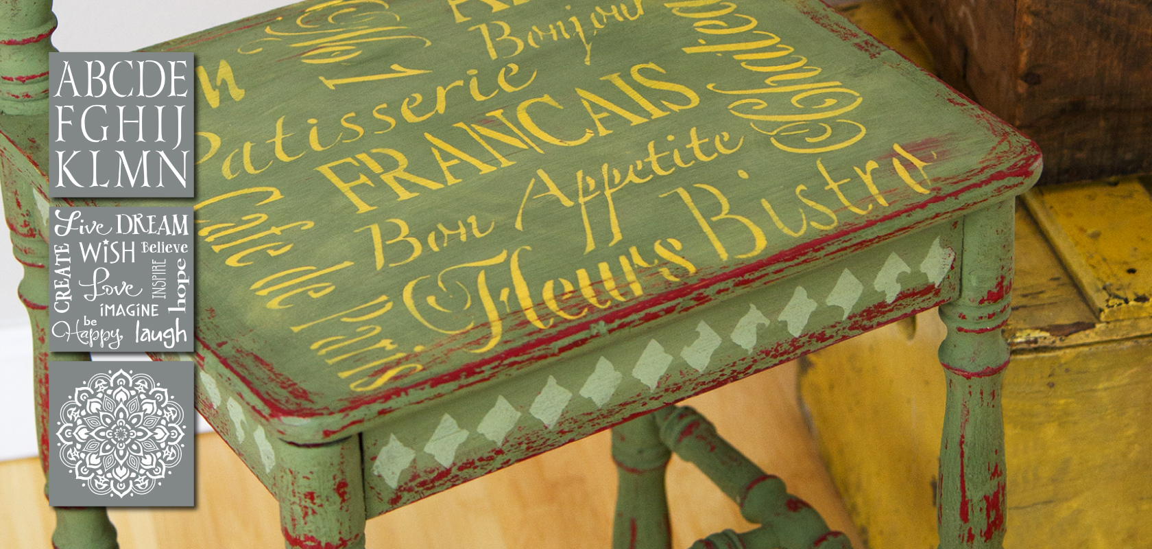 image of stencilled chair