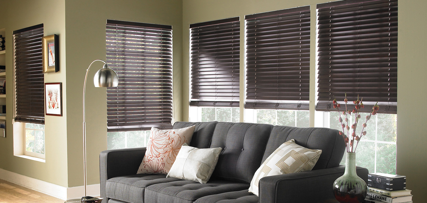 Espresso Faux Wood Horizontal Blinds