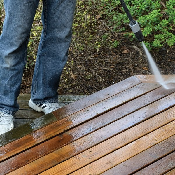 guy cleaning deck