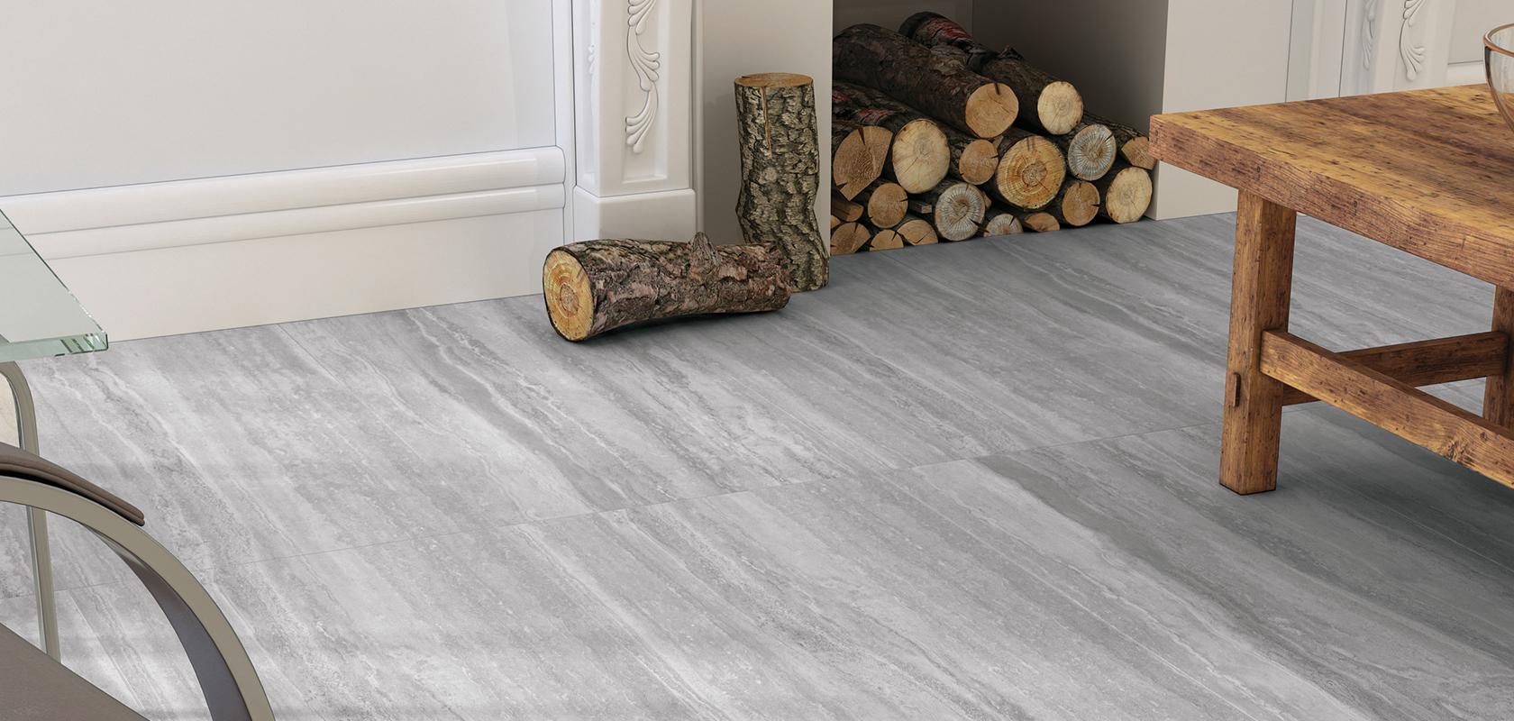 room scene featuring grey ceramic tile