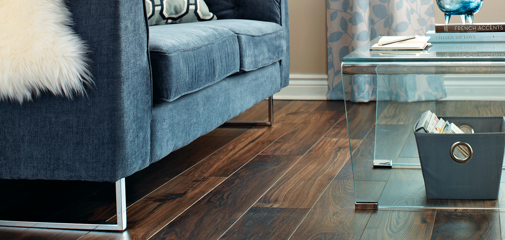 living room with dark wood look flooring