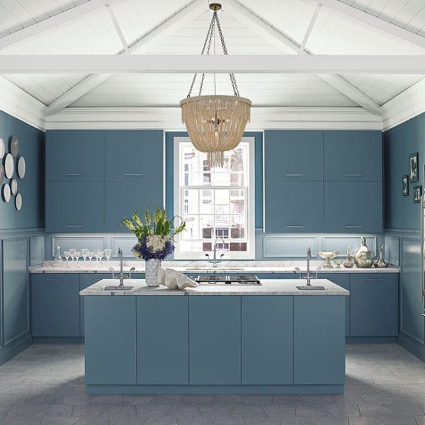 Province Blue 2135-40 (Wall, Cabinets) Baby's Breath OC-62 (Ceiling)