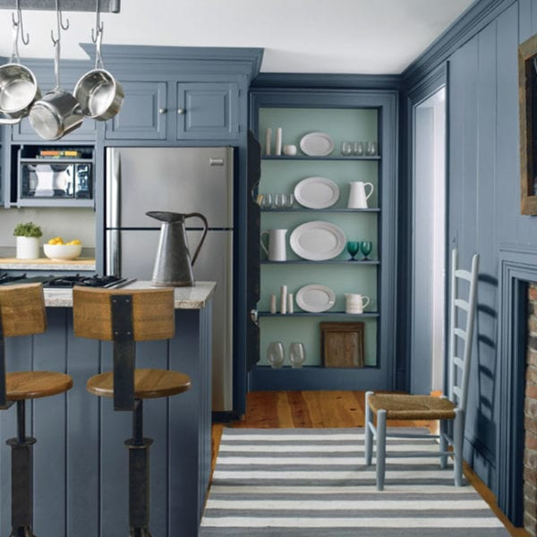 Wolf Grey 2127-40 (Walls & Cabinets) Wythe Blue HC-143 (Shelving Back) Beacon Grey 2128-60 (Chair)