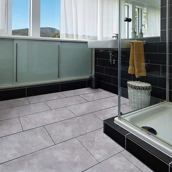 Bathroom with Plaza Greystone Flooring