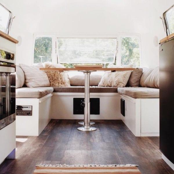 Plank Flooring, Rug and Lush Fabric Layers, The Modern Caravan