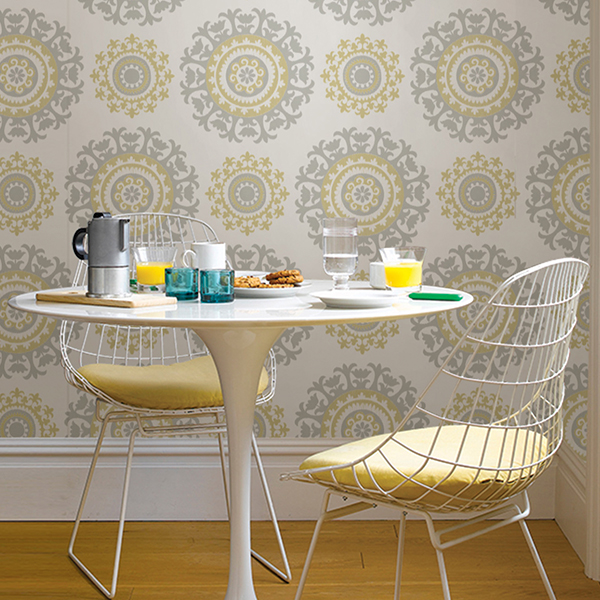 room scene with grey & yellow suzani wallpaper