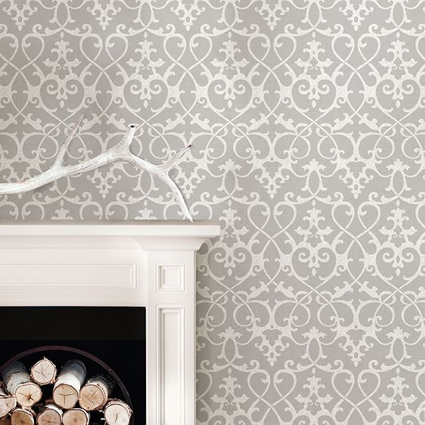 room scene with ironworks grey wallpaper