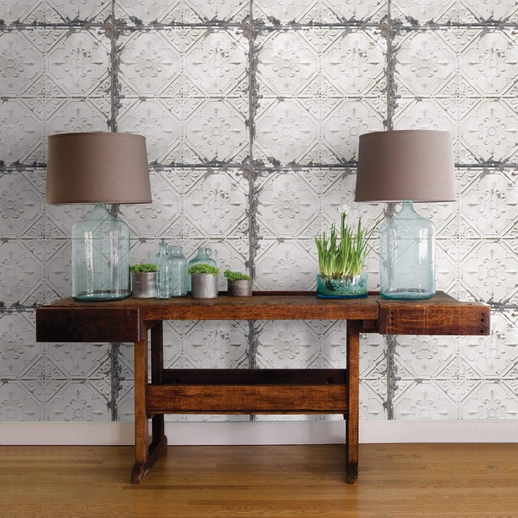 room scene with vintage tin wallpaper