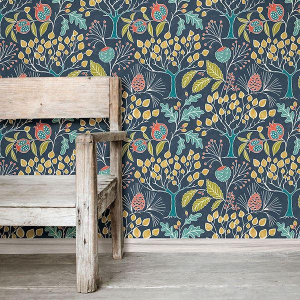 room scene with groovy garden navy wallpaper