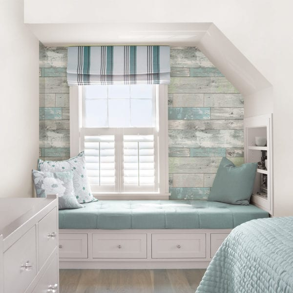 room scene with beachwood wallpaper