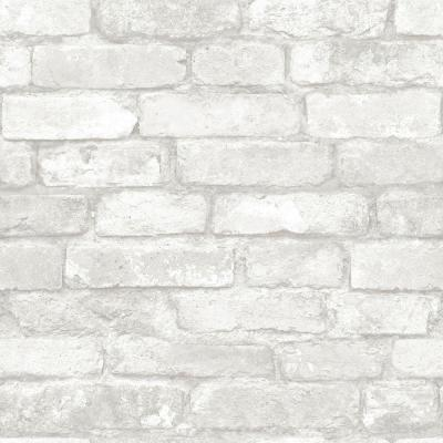 grey & white brick wallpaper swatch