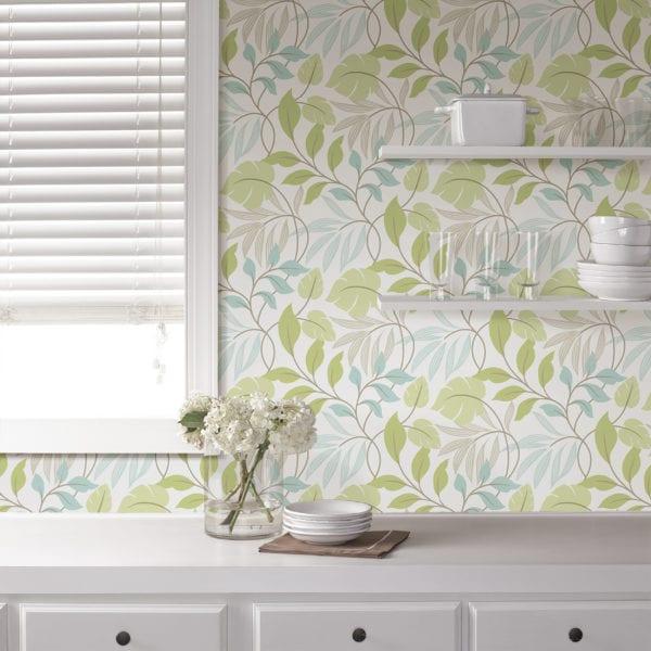 room scene with meadow blue green wallpaper