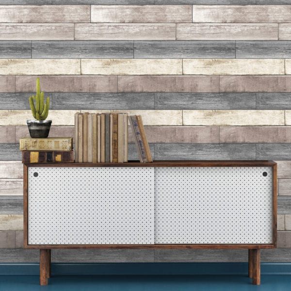 room scene with reclaimed wood plank wallpaper