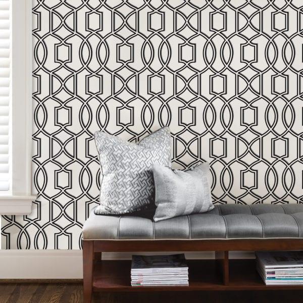room scene with uptown trellis wallpaper