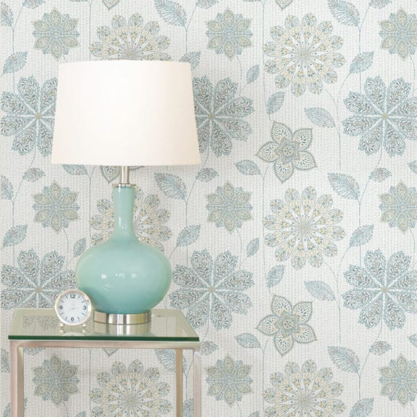room scene with gypsy floral wallpaper