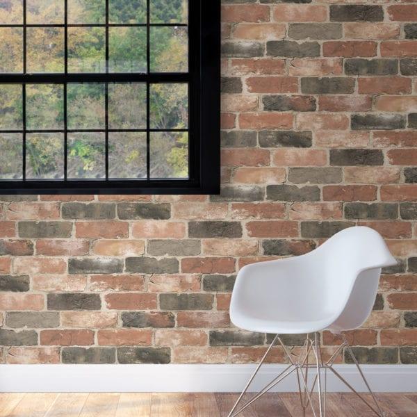 room scene with newport reclaimed brick wallpaper