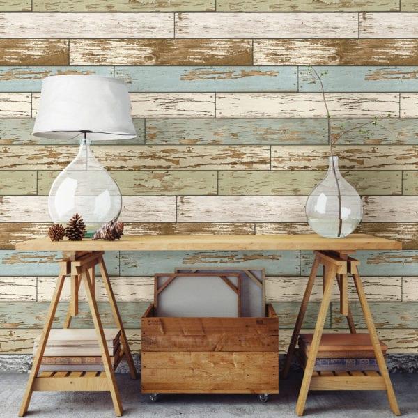 room scene with old salem vintage wood wallpaper