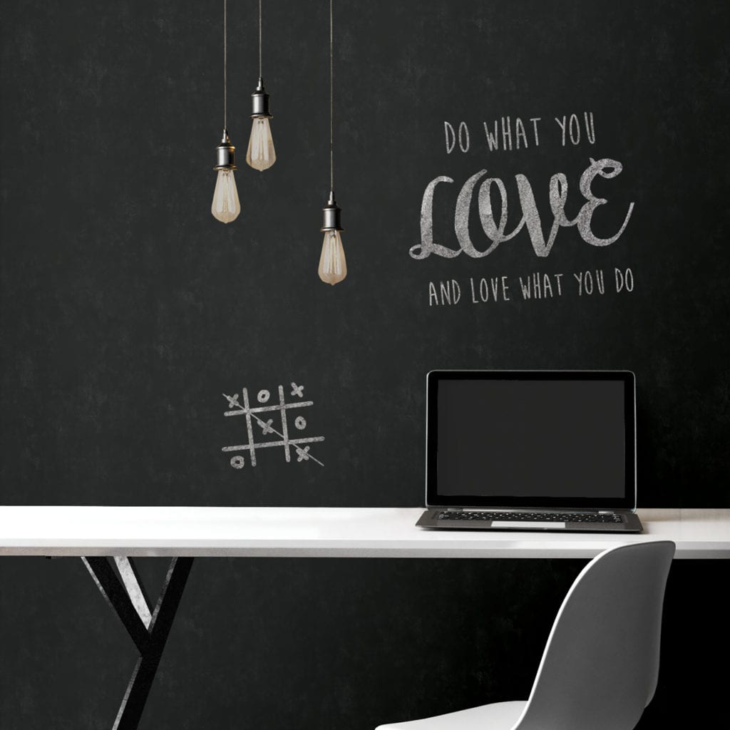 room scene with vintage chalkboard wallpaper