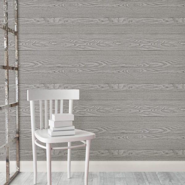 room scene with grey salvaged wood wallpaper
