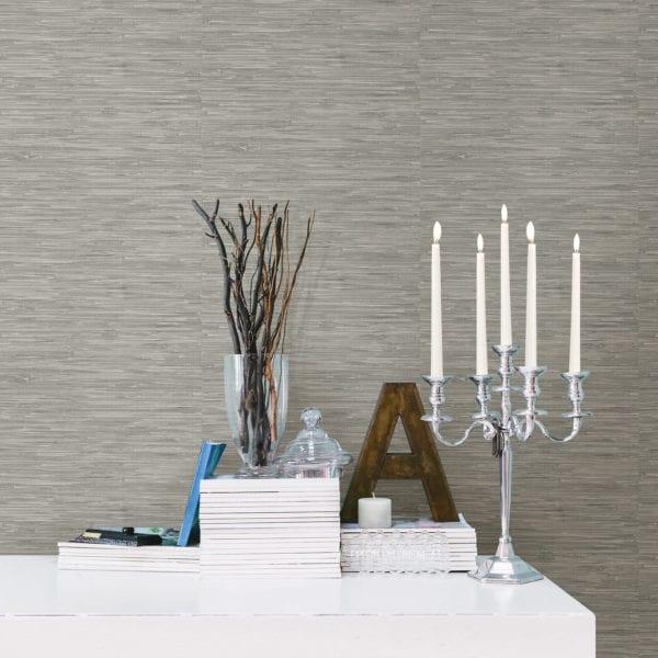 room scene with tibetan grasscloth neutral wallpaper