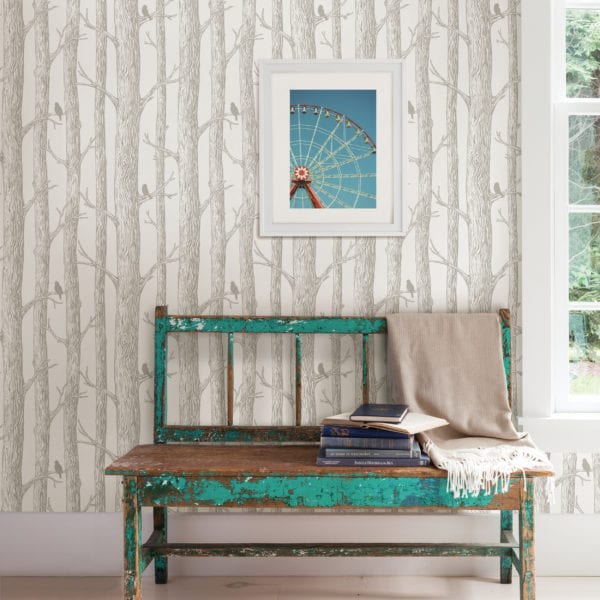 room scene with the forest wallpaper