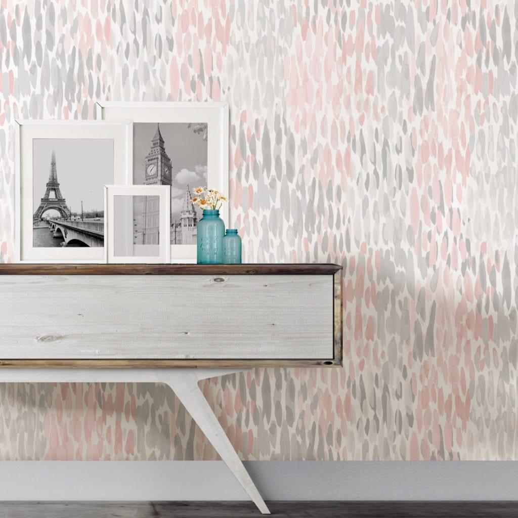 room scene with blush make it rain wallpaper