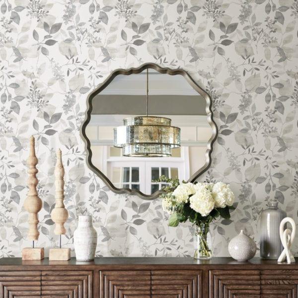 room scene with grey breezy wallpaper