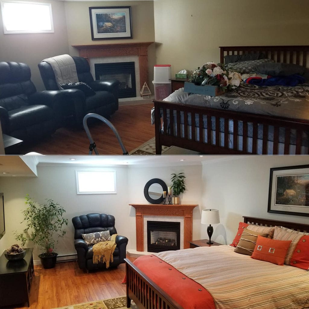 Before and after of a basement