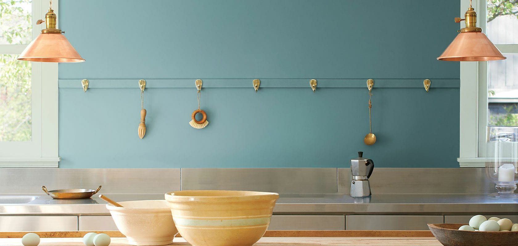 room scene with Agean Teal wall