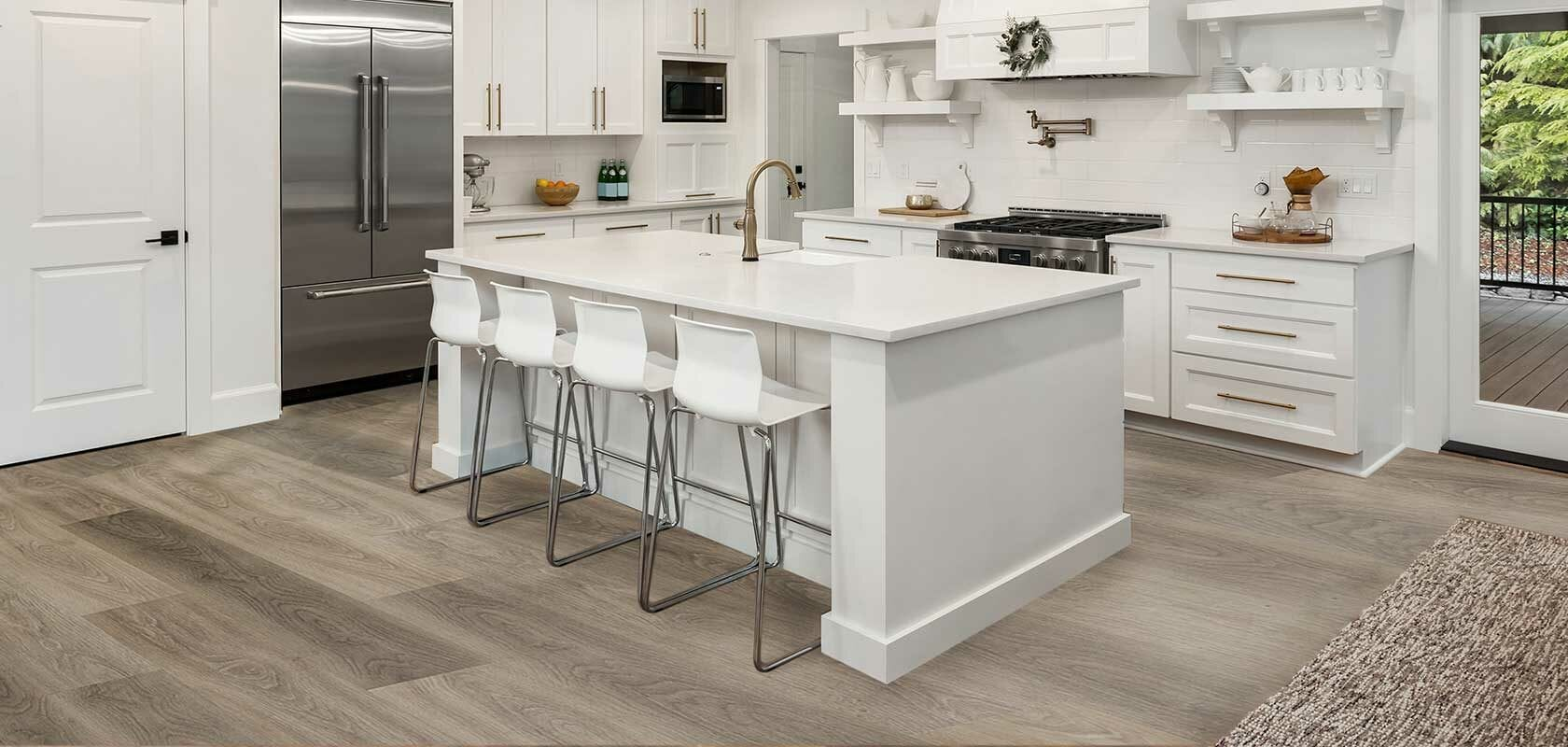 flooring trends 2021 featuring a kitchen with waterproof flooring