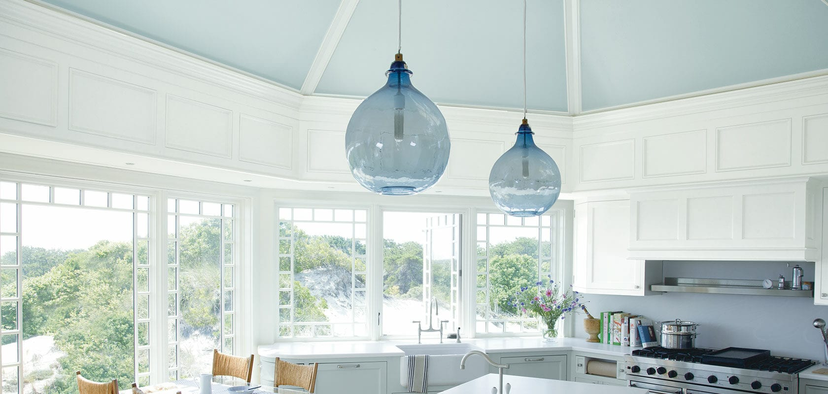 kitchen with blue ceiling